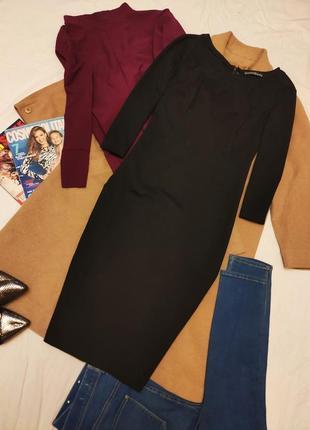 Чёрное платье футляр карандаш миди классическое большое с молнией атмосфера