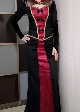 Карнавальный новогодний костюм женский на новый год хэллоуин королева принцесса вампир