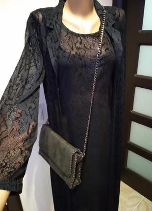 Шикарный вечерний комплект платья и накидки под змеиную кожу макси
