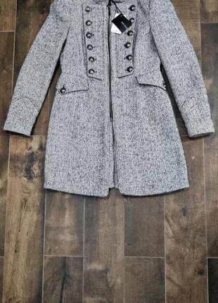 Шикарное шерстяное пальто zara, m р. новое! мохер и шерсть.