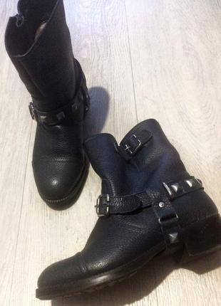 Ботинки сапоги зимние кожаные
