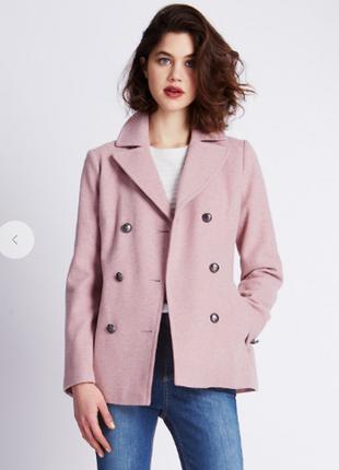 Брендовое демисезонное пальто с карманами per una болгария акрил шерсть этикетка
