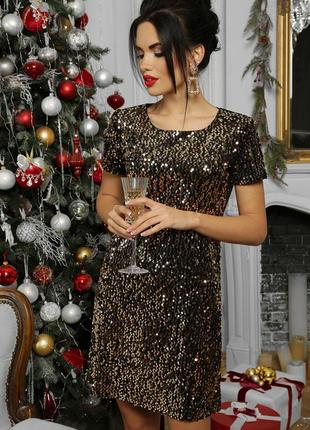 Роскошное золотистое платье в пайетки