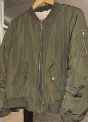 Бомбер хаки на меху, утеплённый бомбер , бомбер с мехом, куртка с мехом select2 фото