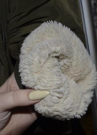 Бомбер хаки на меху, утеплённый бомбер , бомбер с мехом, куртка с мехом select5 фото