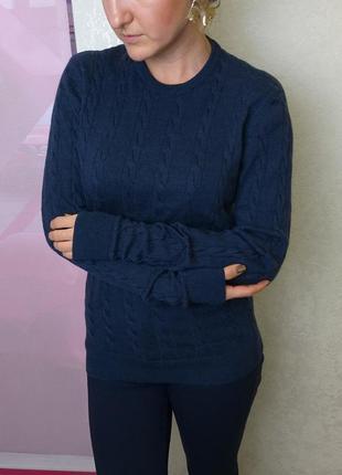 Женский синий джемпер из 100% шерсти мериноса кофта свитер косичек paul&friends