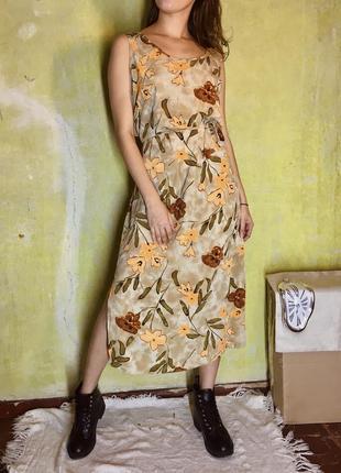 Сарафан платье винтаж шифон легкое цветы принт