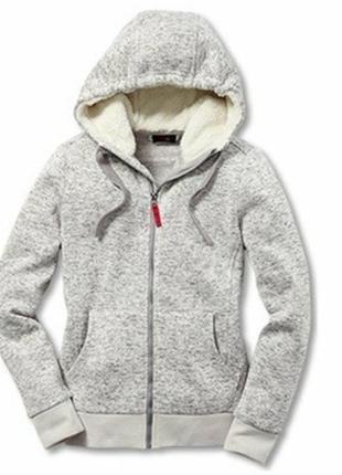 Теплая флисовая толстовка-куртка на байке,капюшон-мех от tchibo германия,размер л=50-56