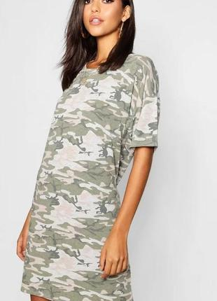 Boohoo. товар из англии. платье футболка в расцветке камо в стиле милитари
