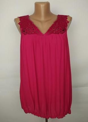 Блуза шелковая розовая шикарная с перфорацией на плечах uk 10-12/38-40/m размер 3