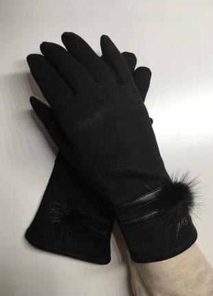 Чёрные сенсорные перчатки под замш