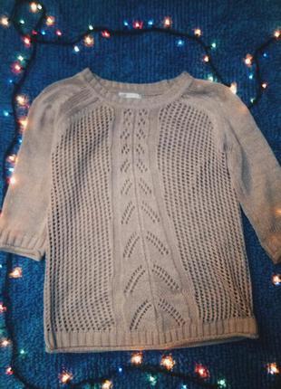 Вязаный розовый свитер