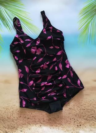 Шикардос! купальник мини-платье slimma в цветочный принт, с утяжкой и драпировкой, чашка с