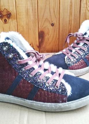 Стильные замшевые утепленные высокие кеды witty knitters сникерсы ботинки