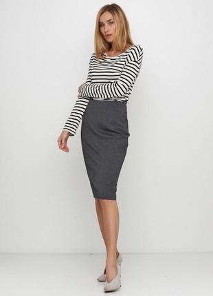 Базовая юбка карандаш серого цвета