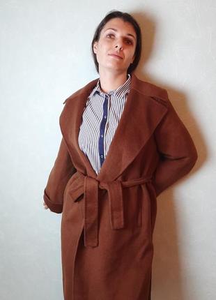 Пальто шерстяное коричневое из коллекции zara handmade