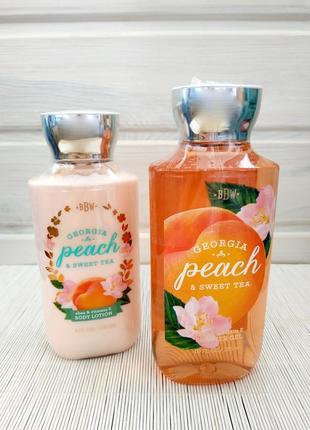 Bath and body works подарочный набор гель для душа и лосьон для тела georgia peach