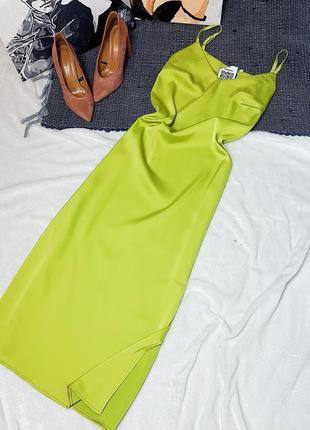 Новое платье комбинация зеленого цвета