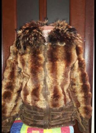 Куртка шубка шиншила крашеная и енот