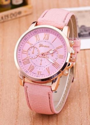 Кварцевые часы geneva (женева) с розовым ремешком