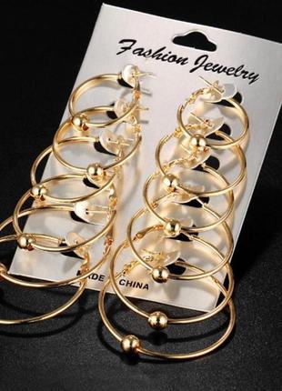 Серьги кольца золотые набор из 6 пар разного диаметра