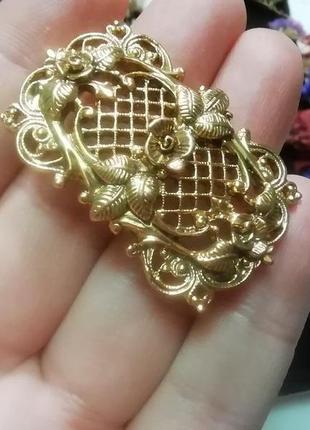 Невероятно красивая,винтажная  'королевская' брошь для дамы из высшего общества + подарок