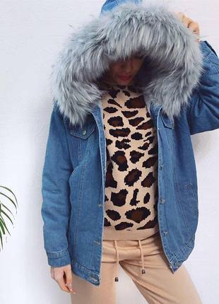 Джинсовая тёплая курточка с искусственным мехом куртка с капюшоном