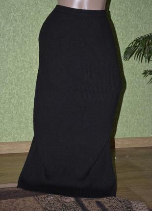 Теплая вязаная черная юбка в пол