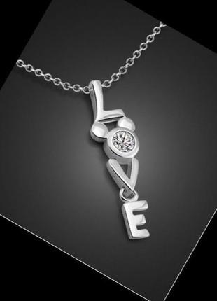 🏵 красивый кулон подвеска на цепи love в серебре 925 с цирконом, новая! арт. 3124
