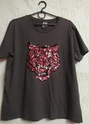 Стильная футболка,тигр,расшит паетками