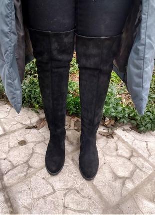 Кожаные сапоги замшевые ботфорты чулок зимние и демисезонные на шнуровке