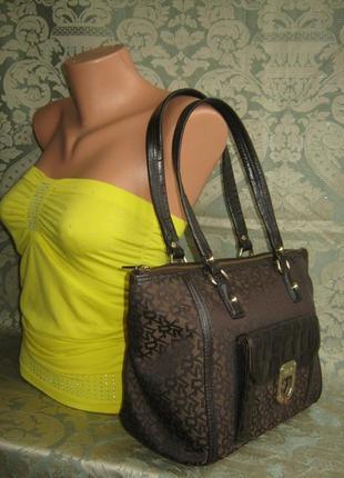 Dkny оригинал большая кожаная тканевая сумка натуральная кожа текстильная основа