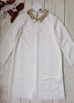 Новое белоснежное, нарядное платье с пайетками zara, тренд сезона !размер s