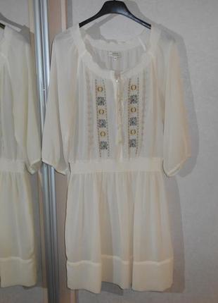 Papaya роскошное кремовое платье туника с вышивкой, р.12-40, м-ка
