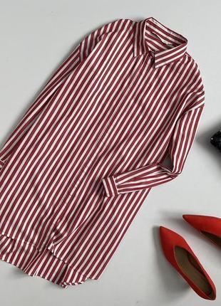 Крутое хлопковое платье рубашка в полоску zara.