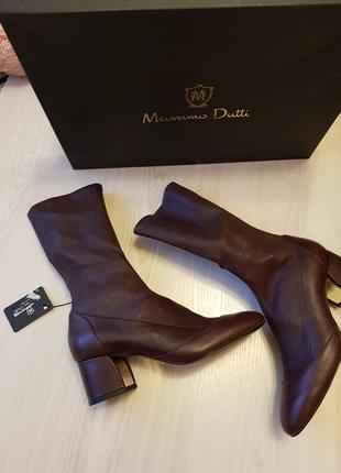 Кожаные стрейчевые сапоги,эластичные ботильоны марсала massimo dutti