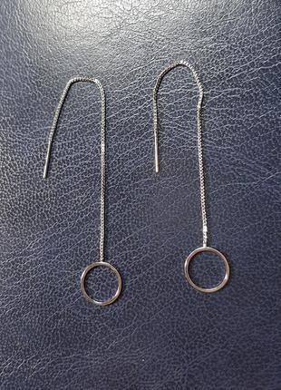 Серьги длинные, серебро 925
