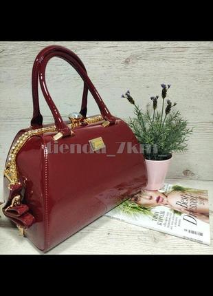 Каркасная лаковая женская сумка с камнями k-8008 красная