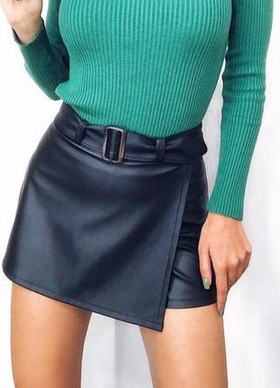 Кожаные юбка-шорты с поясом