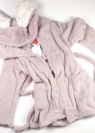 Жіночий плюшевий халат з капюшоном