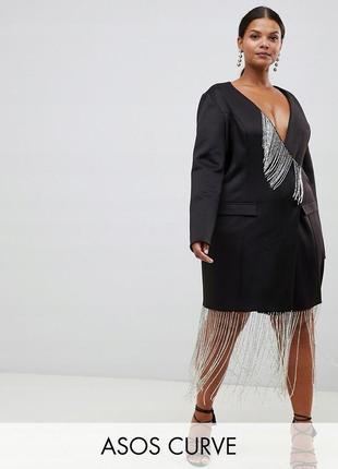Розкішна чорна сукня-піджак з бахромою з бісера