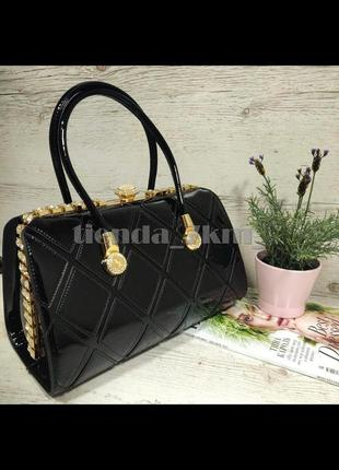 Каркасная лаковая женская сумка с камнями k-91791 черная
