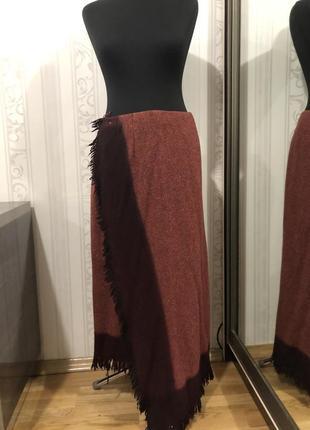 Классная длинная юбка на запах, шерсть 100%