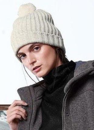 Вязаная теплая шапка со съемным пампоном tchibo германия размер универсальный
