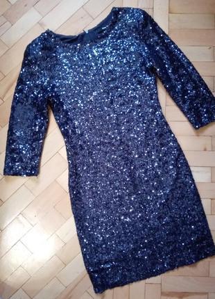Вечернее платье в пайетки рукав 3/4 tfns london m