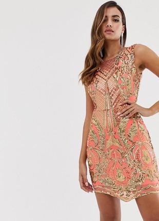 Коралловое облегающее платье вышито золотыми пайетками goddiva,  размер 8