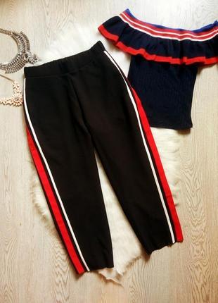 Черные капри штаны укороченные кюлоты шорты c лампасами брюки широкие на резинке