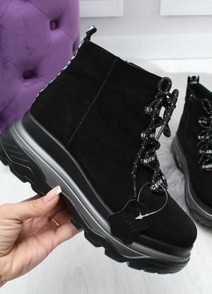 Сапоги ботинки женские зимние на платформе натуральная кожа и замш