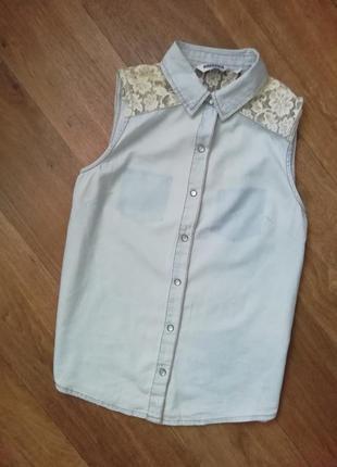 Рубашка, рубаха, безрукавка, котоновая, джинсовая, блузка, кофта