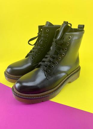 Кожаные ботинки в стиле dr. martens на меху
